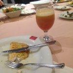 Mixed orange and pomegranate juice