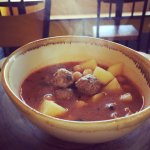 Delicious Meatball soup and Tabule salad