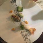 Tartare de bar, langoustine, crème d'anguille fumée, physalis, sorbet concombre/shiso