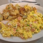 Eggs with Salmon and hashbrowns