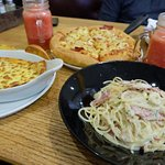 Turkey and Mushroom Pasta with the Hawaiian Thick Crust Pizza and Watermelon Frappe