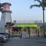Buzz's Lighthouse Restaurant has a small parking lot in front of the restaurant.