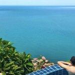 Pool of the Leelawadee villa overlooking the ocean