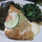 Cashew Salmon with spinach and collards