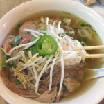 #6, Pho with Lean Steak, well-done Flank Steak and Tripe