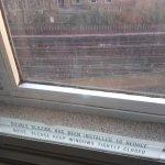 Window on extremely noisy railway.