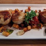 Sea Scallops(4), with sweet potato hash, roasted brussel sprouts. (There was a 4th scallop)