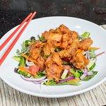 Popcorn Chicken Salad with Sesame Vinaigrette
