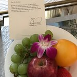 Welcome letter and fruit