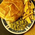 steak & ale pie chips 'n' peas
