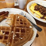 Waffle and sausage links from buffet. Bacon and cheese omelette! The Cook needs his own Tip Jar