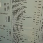 Ο κατάλογος με τις τιμές .