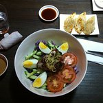 House Sesame Noodles with Fatty pork + small order Pork Gyozas