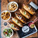 Our delicious Hotdogs and sides and a Bluemountain Mule