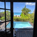 from the doorway of the beachfront cottage and plunge pool