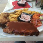 Full rack of BBQ Pork Ribs and Chicken with Chips and Coleslaw