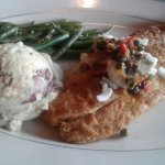 Redfish topped with crabmeat and capers