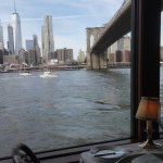 The view on the Brooklyn Bridge and Manhattan from our table at the River Café