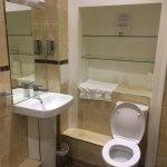 Nice sized bathroom with shower.