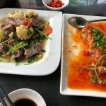 Beef and vegetables and fish in savory tomato sauce!