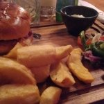 Nice thick cute chips with haloumi burger