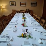 Private dining room set for the post-ceremony meal