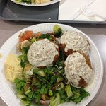 Falafel plate with salads and hummus