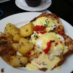 Crab cake benedict on toasted croissant - OMDivine!
