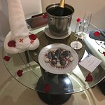 This was in our room when we returned! Choc covered strawberries and champagne!