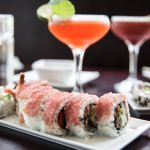 Sushi and delicious drinks.
