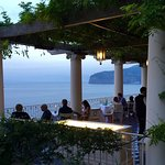 Wonderful terrace dining with Mt. Vesuvius in the distance.