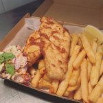 Battered Spanish Mackeral and Chips - perfect