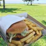 Friday night, fish and chips (or fish burger) on the beach! One of the perks of being in South F