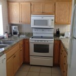 A pic of the kitchen when we arrived full of appliances, just bring your food!