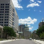 The State Office buildings and the central canal downtown Indianapolis.