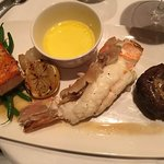 Glazed salmon, south african lobster tail and grilled tenderloin.