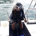 Lily (PADI Divemaster) ready to go into the water. She will lead leisure dive group