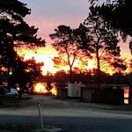 Sun setting over Lake Sambell from our caravan spot.