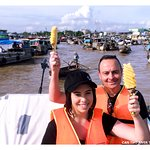 Cai Rang floating market at 8am. so stunning to be the the top of pineapple boat.
