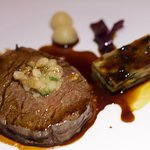 roasted wagyu tenderloin, celeriac, a topping of bone marrow, and red wine sauce