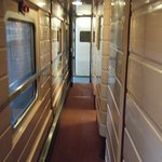 the narrow train corridor