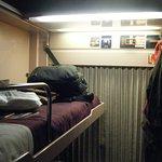 top bed of the deluxe cabin laden with my belongings