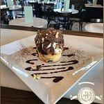 Panettone with chocolate, mascarpone cream and chestnut marmalade