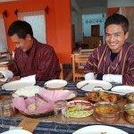 Enjoying great delicious Bhutanese food