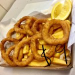 9 Pieces of Calamari and two handful chips. Choose to season it with fragrant Australian Bush.
