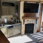 fireplace and kitchenette
