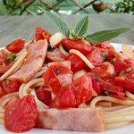 (italian food 08) - Pasta Summer (bacon, fresh tomato and italian basil)