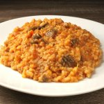 (italian food 12) - Risotto (italian rice) with mushrooms and beef