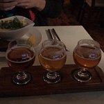 Beer sampler and fish stew