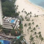 Pools and beach from 25th floor of Rainbow Tower